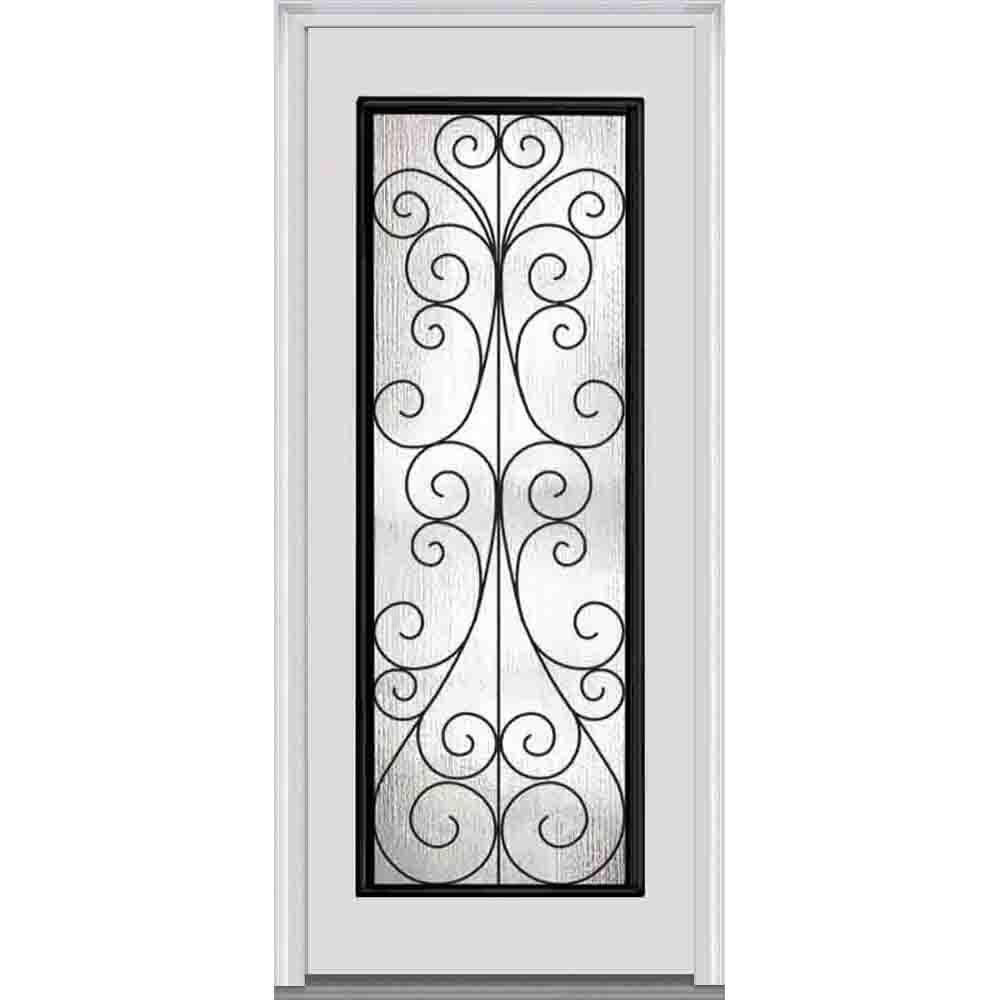 33.5 in. x 81.75 in. Camelia Decorative Glass Full Lite Painted