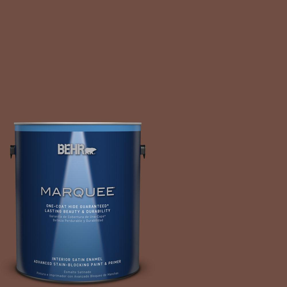 1 gal. #N160-7 Brown Velvet One-Coat Hide Satin Enamel Interior Paint