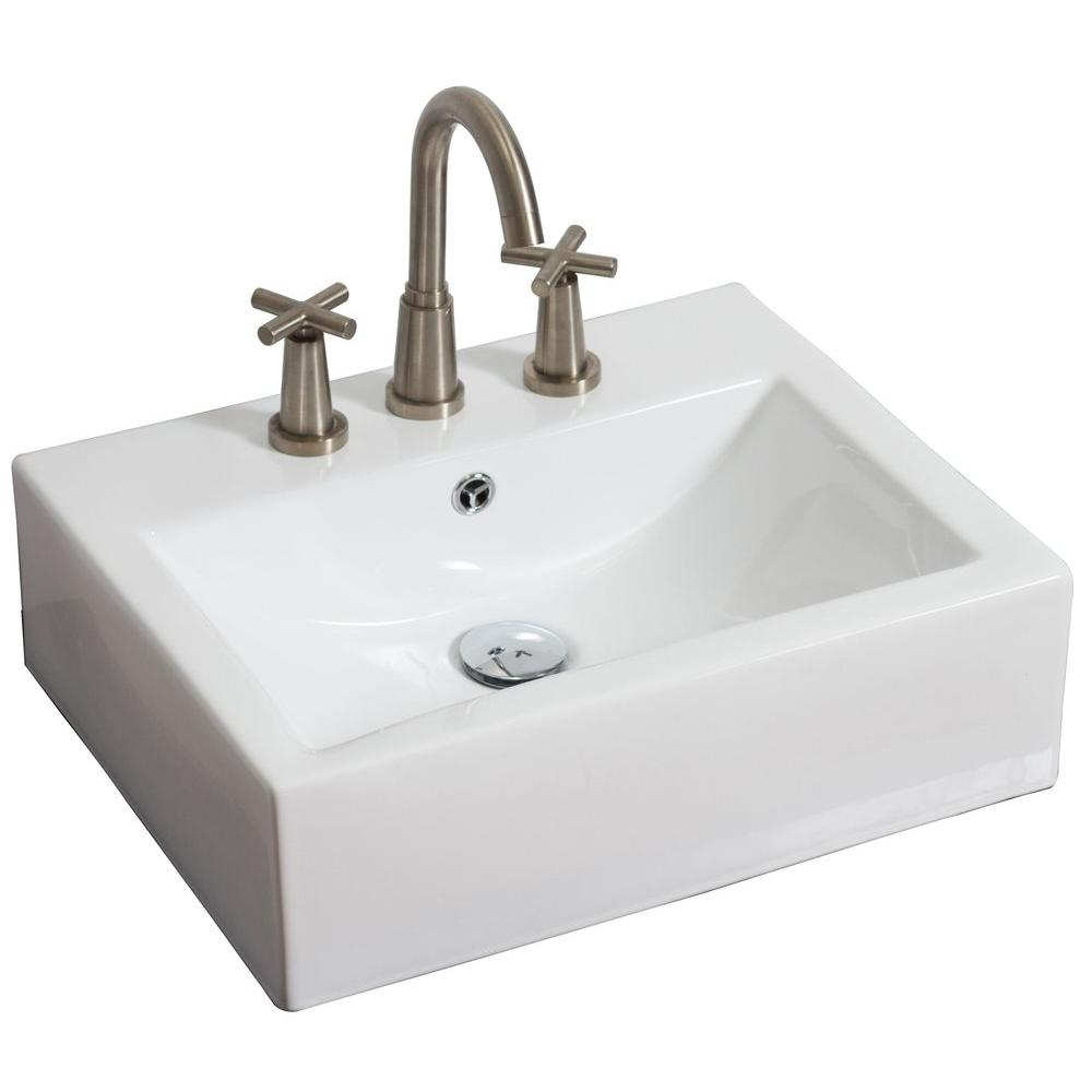 American Imaginations 20.5-in. W x 16-in. D Above Counter Rectangle Vessel Sink In White Color For 8-in. o.c. Faucet