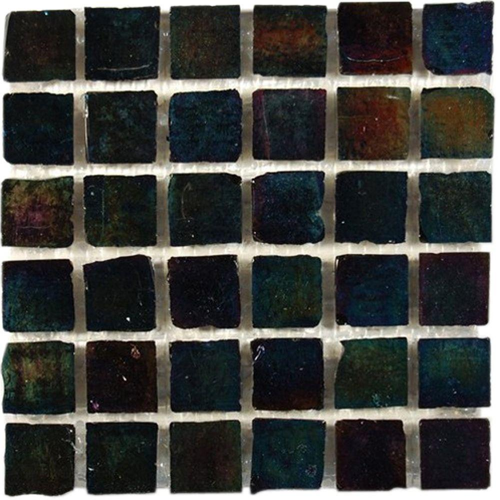 Splashback Tile Iridescent Raven 12 in. x 12 in. x 8 mm Glass Mosaic Floor and Wall Tile