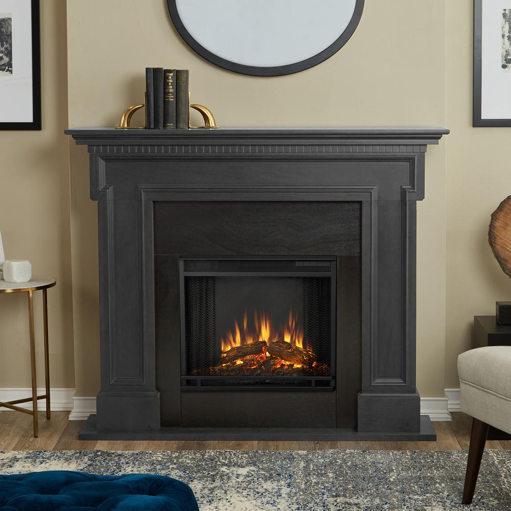 Electric Fireplace Heaters Home Depot: Real Flame Thayer 54 In. Electric Fireplace In Gray-5010E