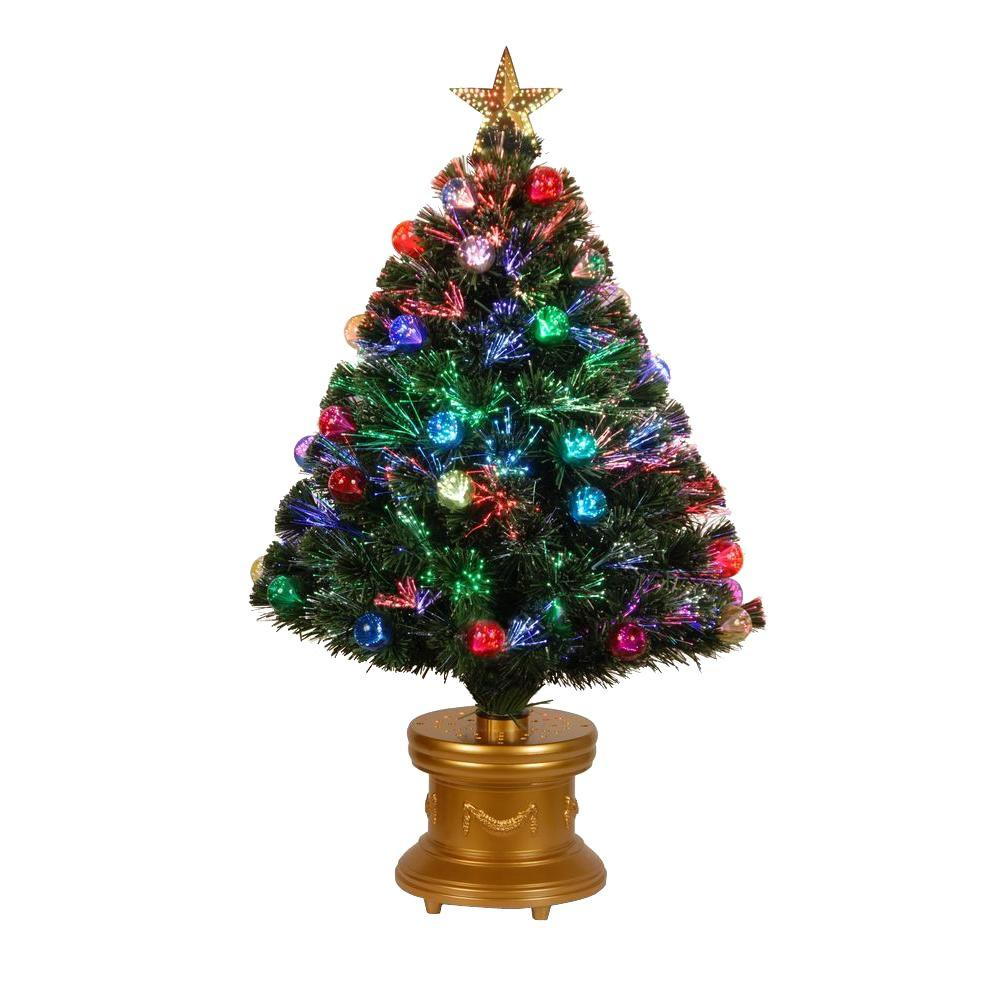 Optic Fiber Christmas Tree: National Tree Company 36 In. Fiber Optic Fireworks Red