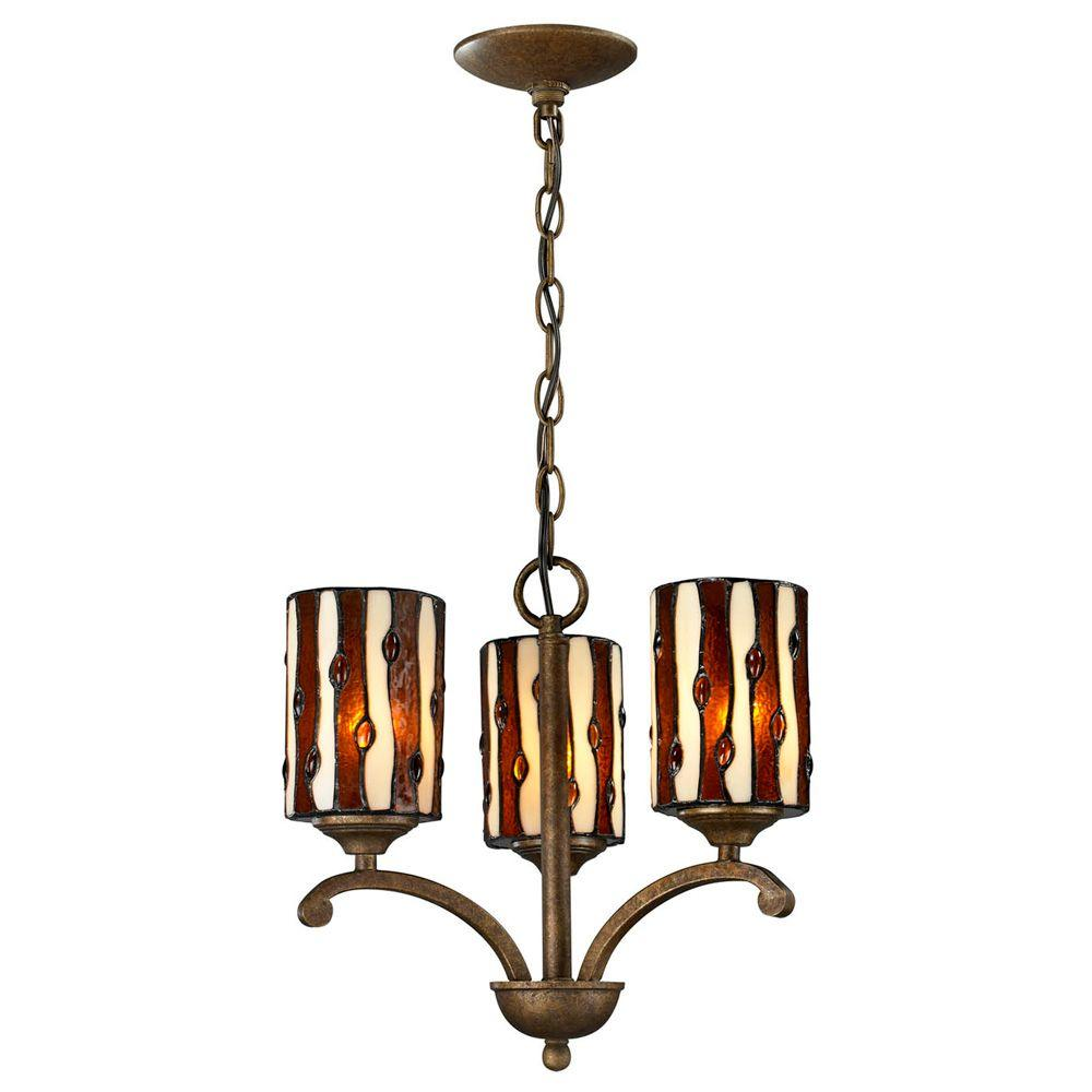 Dale Tiffany Diamond Hill 3-Light Antique Golden Bronze Chandelier-TH12440 - The