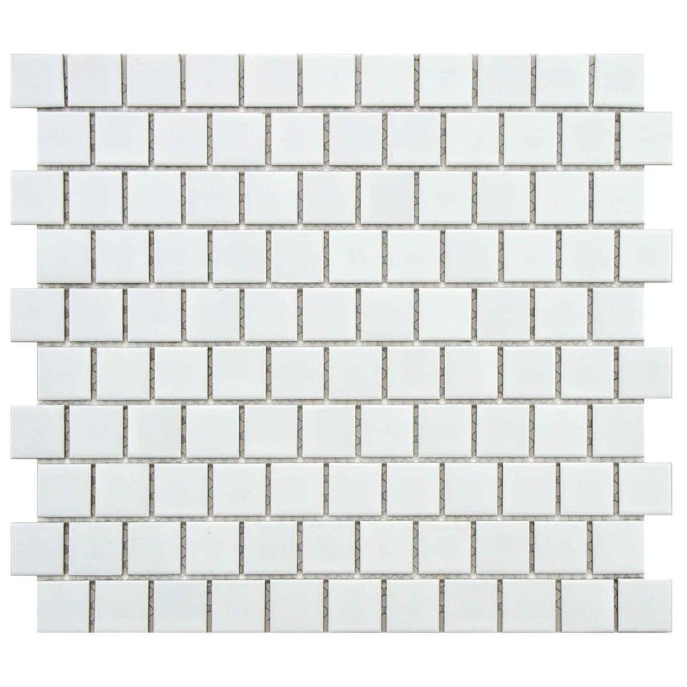 Merola Tile Metro Square Offset Matte White 10-3/4 in. x 11-3/4 in. x 5 mm Porcelain Mosaic Tile (9.17 sq. ft. / case)