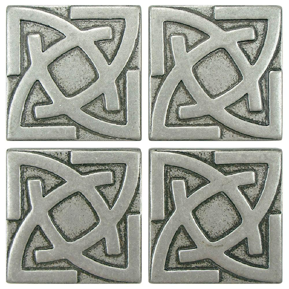 Merola Tile Contempo Gaiden Pewter 2 in. x 2 in. Tozetto Medallion Floor and Wall Insert Tile (4-Pack)