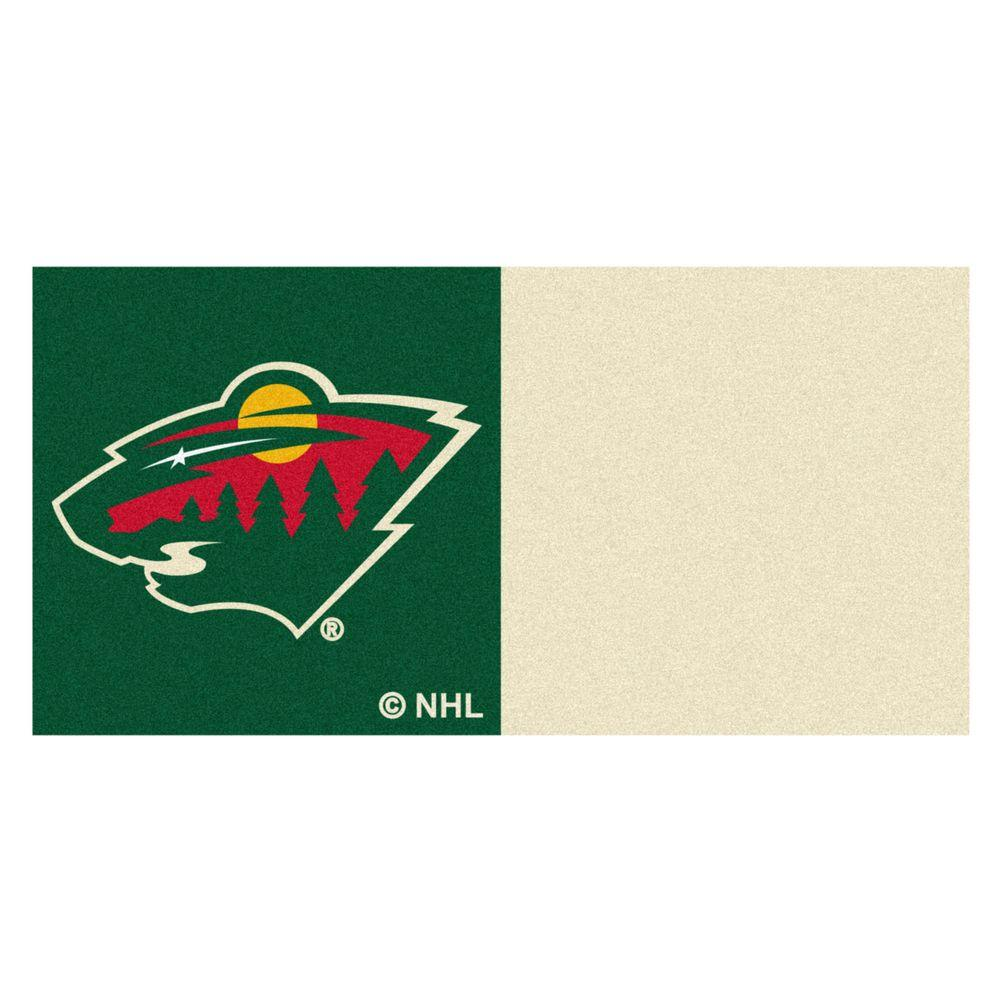 FANMATS NHL - Minnesota Wild Green and Cream Pattern 18 in. x 18 in. Carpet Tile (20 Tiles/Case)