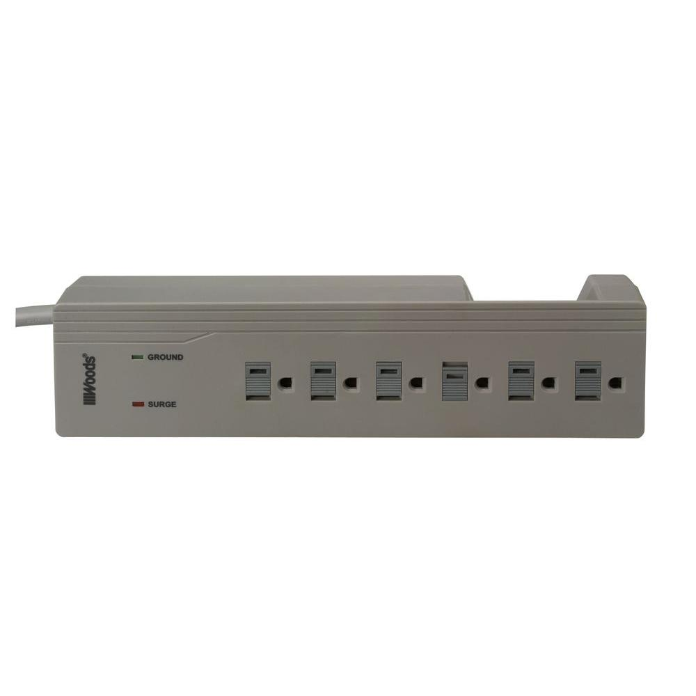Electronics 6-Outlet 1000-Joule Surge Protector with Sliding Safety Covers and