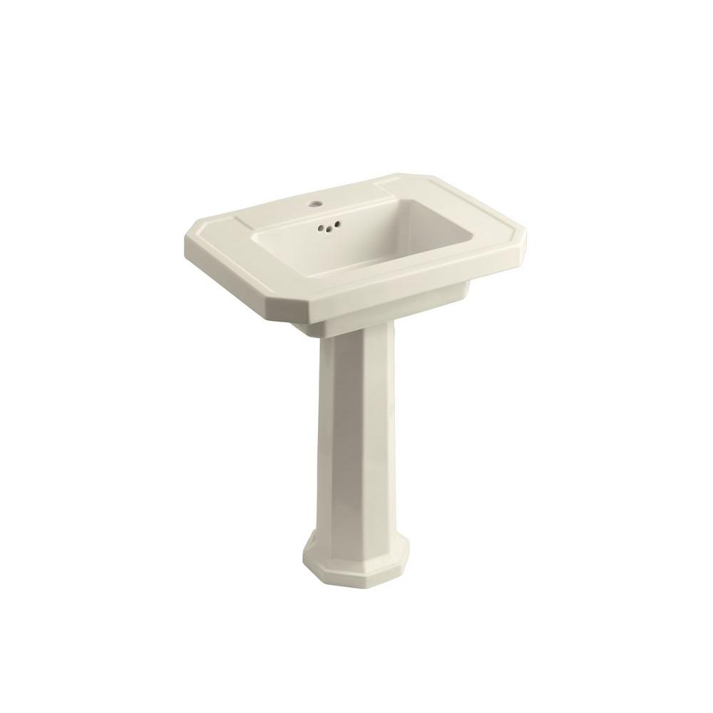 Kathryn Ceramic Pedestal Combo Bathroom Sink in Almond with Overflow Drain