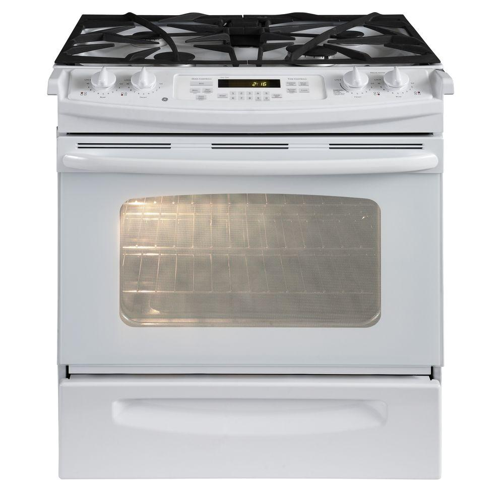 GE 4.1 cu. ft. Slide-In Gas Range with Self-Cleaning Oven in White