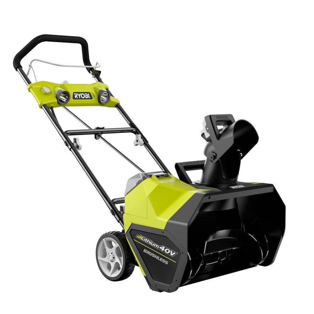 Ryobi Snow Removal Reconditioned 20 in. 40-Volt Brushless Cordless Electric Snow Blower with 2 Batteries ZRRY40811
