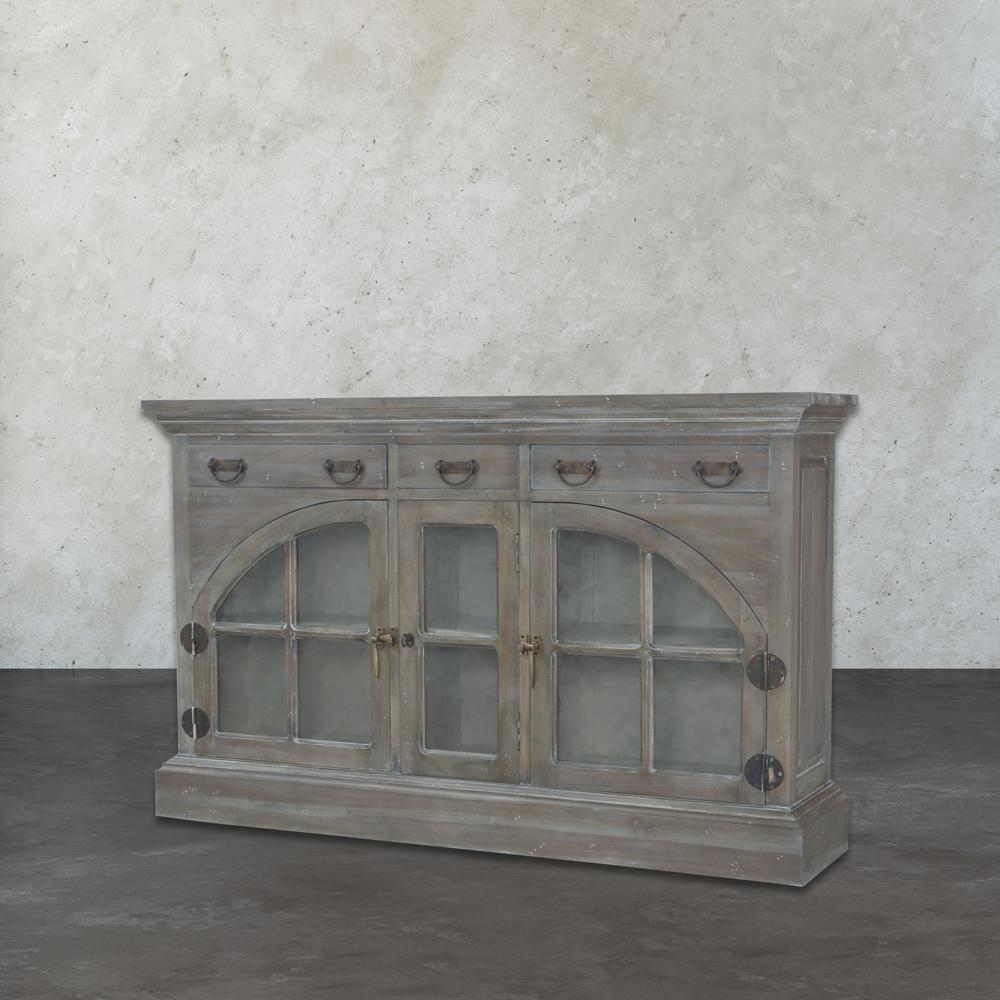 Farmhouse Wooden Waterfront Grey Stain and White Wash China Credenza-TN-891610 -