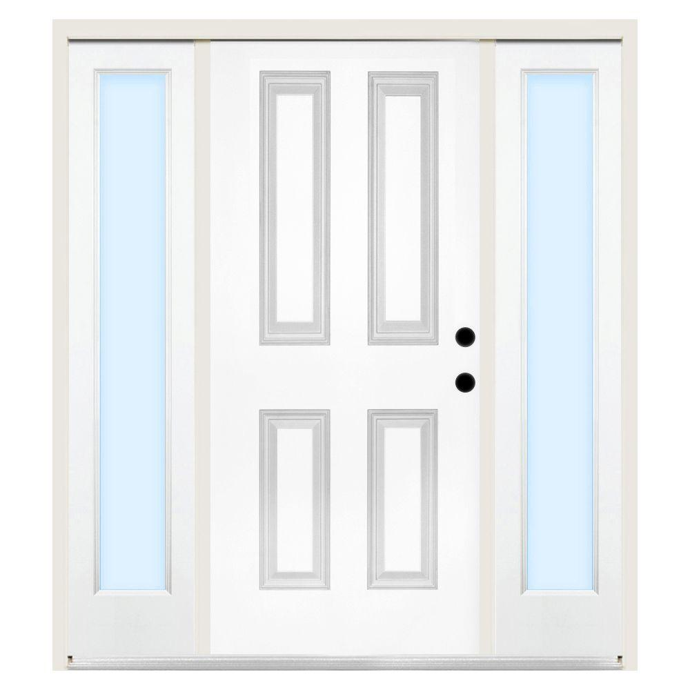 Steves & Sons 60 in. x 80 in. Premium 4-Panel Left-Hand Primed Steel Prehung Front Door w/ 10 in. Clear Glass Sidelite and 6 in. Wall