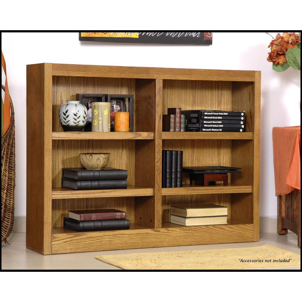 Concepts In Wood Midas Double Wide 6-Shelf Bookcase in Dry Oak