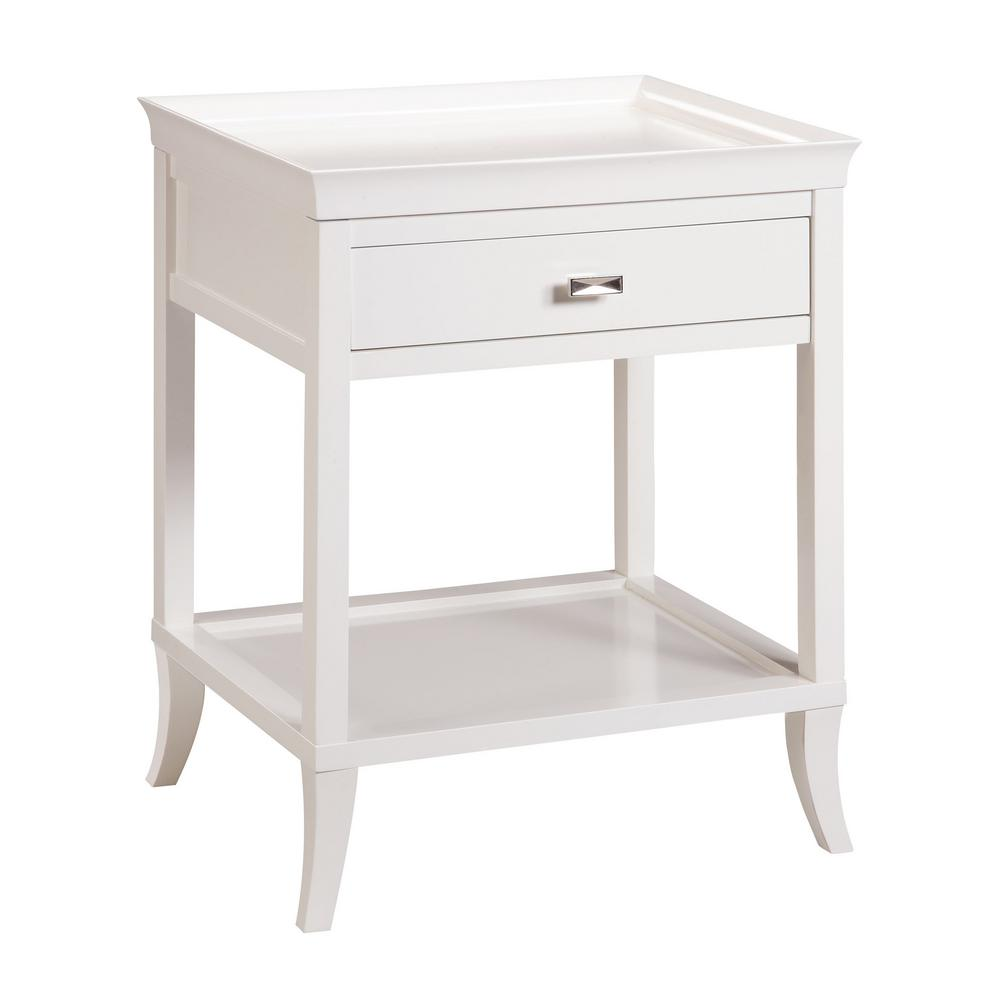 Tamara 1-Drawer White Side Table-TN-892760 - The Home Depot