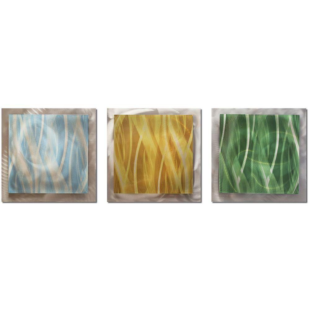 Filament Design Brevium 12 in. x 38 in. Light Essence Metal Wall Art (Set of 3)