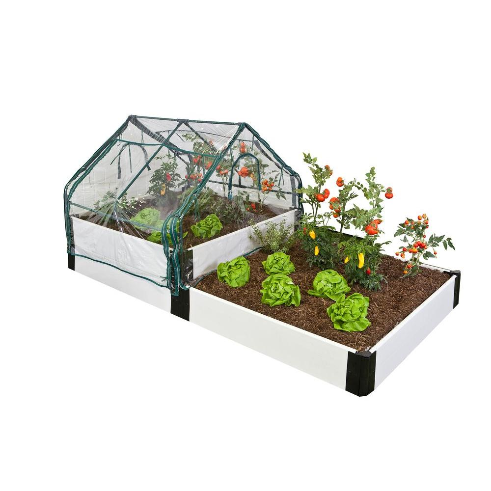Frame It All Classic White Two Stepper Raised Garden Bed with Greenhouse-DISCONTINUED