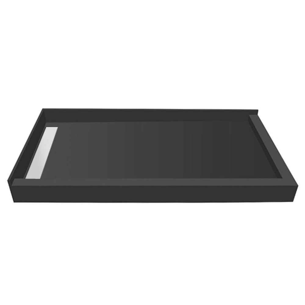 WonderFall Trench 42 in. x 36 in. Double Threshold Shower Base with Left Drain and Tileable Trench Grate