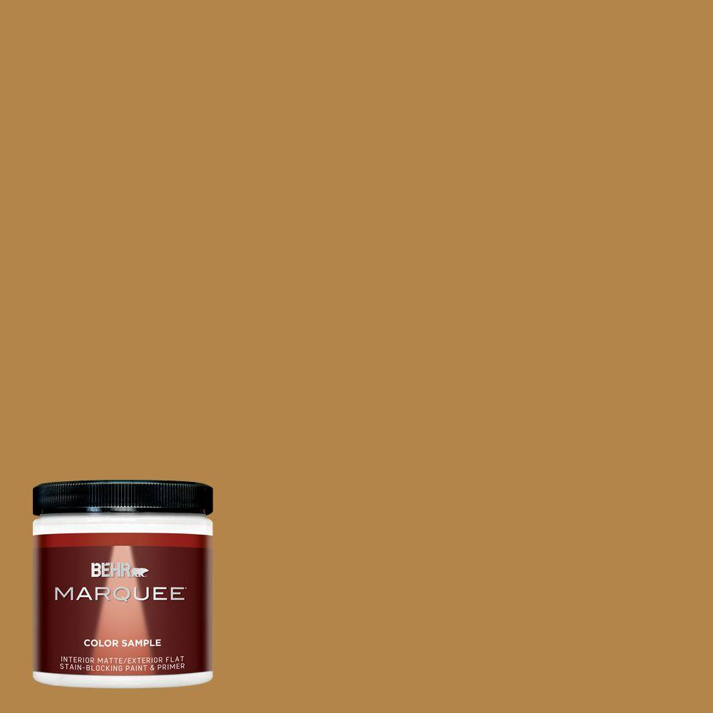BEHR MARQUEE 8 oz. #MQ4-9 Rice Curry Interior/Exterior Paint Sample-MQ30316 -