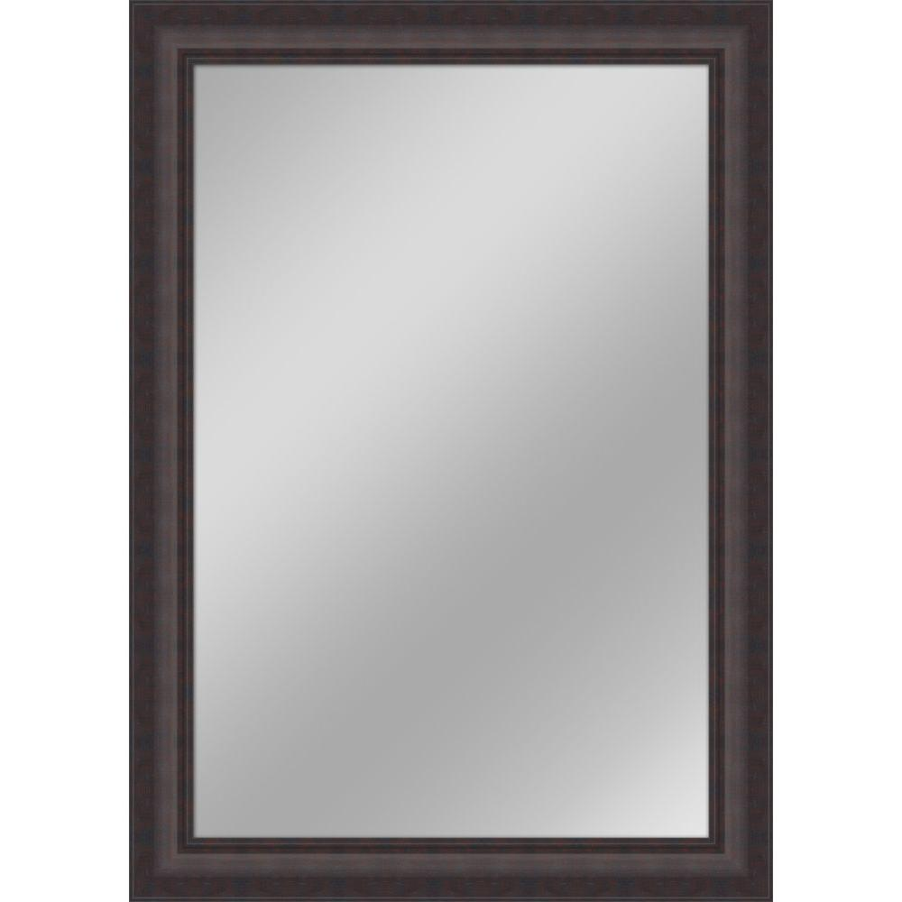 30 in x 42 in dark brown non beveled framed wall mirror for Long black wall mirror