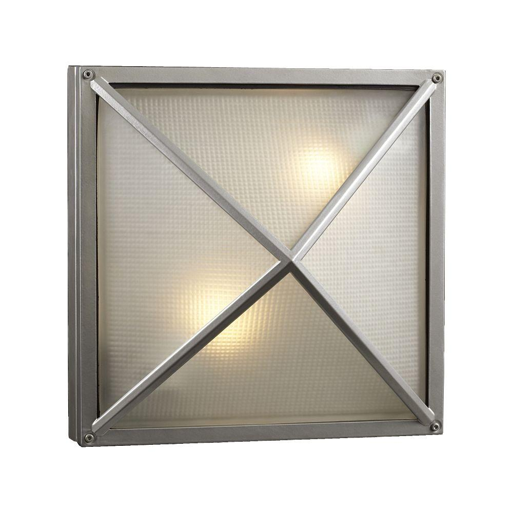 PLC Lighting Contemporary Beauty 2-Light Outdoor Silver Wall