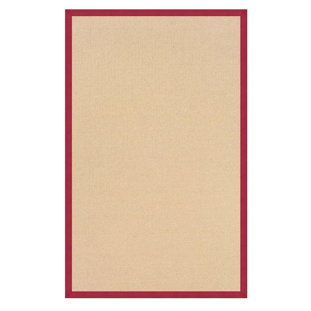 Linon Home Decor Athena Natural and Red 5 ft. x 8 ft. Area Rug