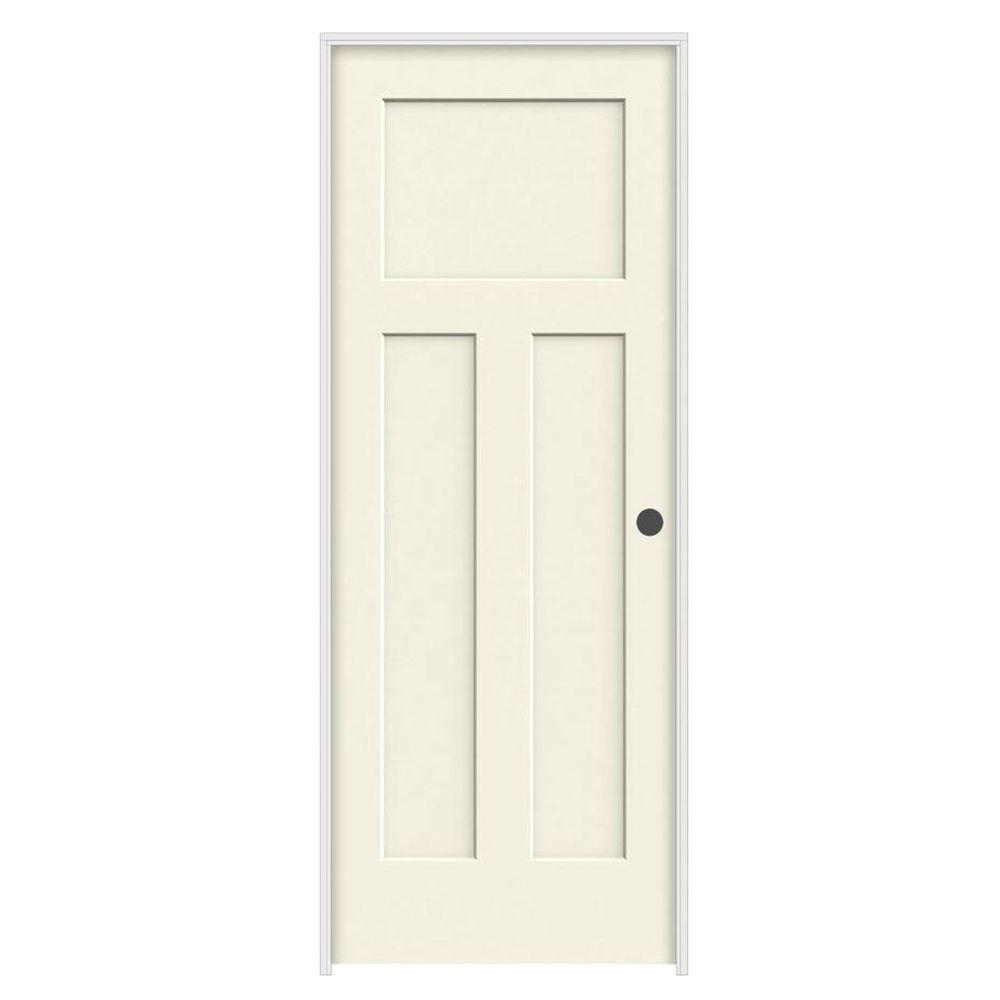 32 in. x 80 in. Craftsman Vanilla Painted Left-Hand Smooth Molded