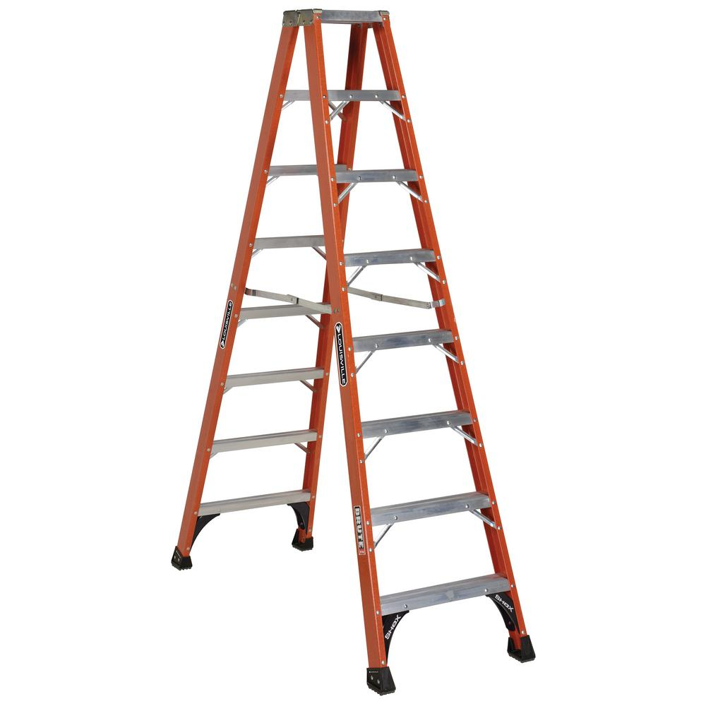 8 ft. Fiberglass Twin Step Ladder with 375 lbs. Load Capacity