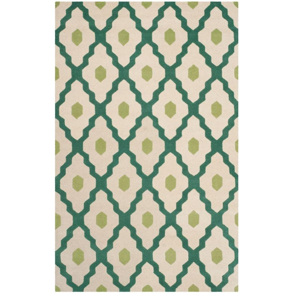 Chatham Ivory/Teal 3 ft. x 5 ft. Area Rug