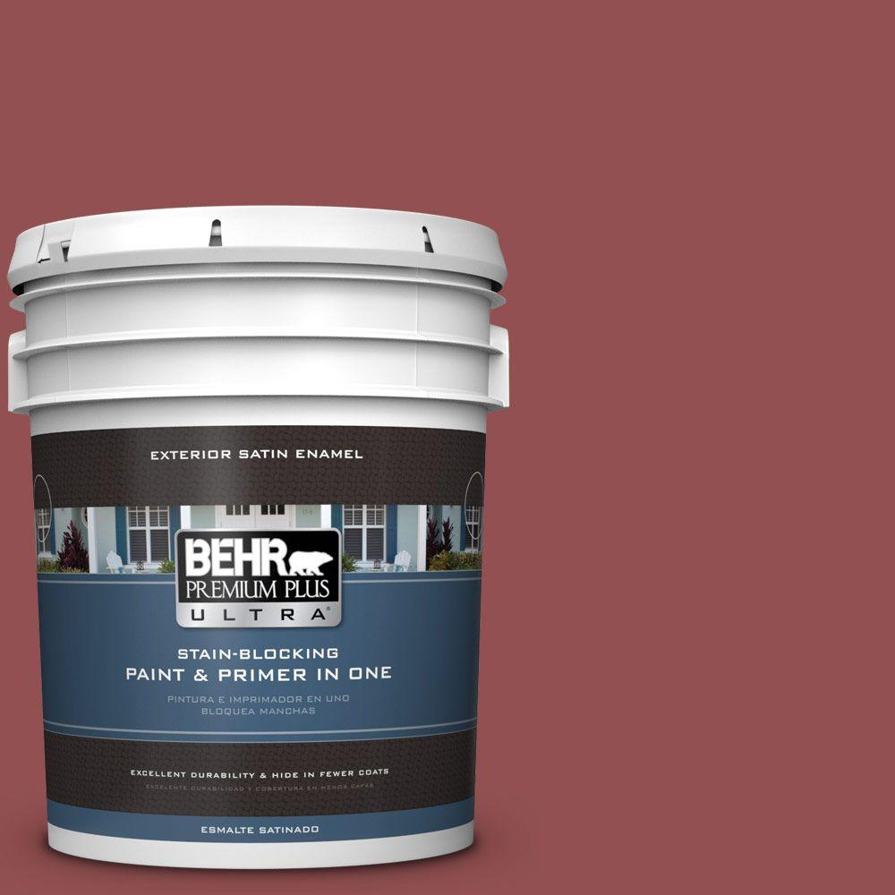 5-gal. #PPU1-8 Pompeian Red Satin Enamel Exterior Paint