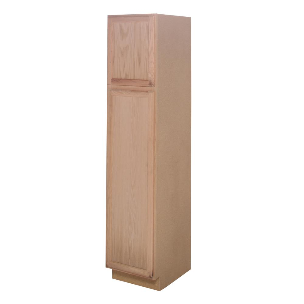Assembled 18x84x24 in pantry kitchen cabinet in unfinished oak uc182484ohd the home depot - Unfinished kitchen pantry cabinet ...
