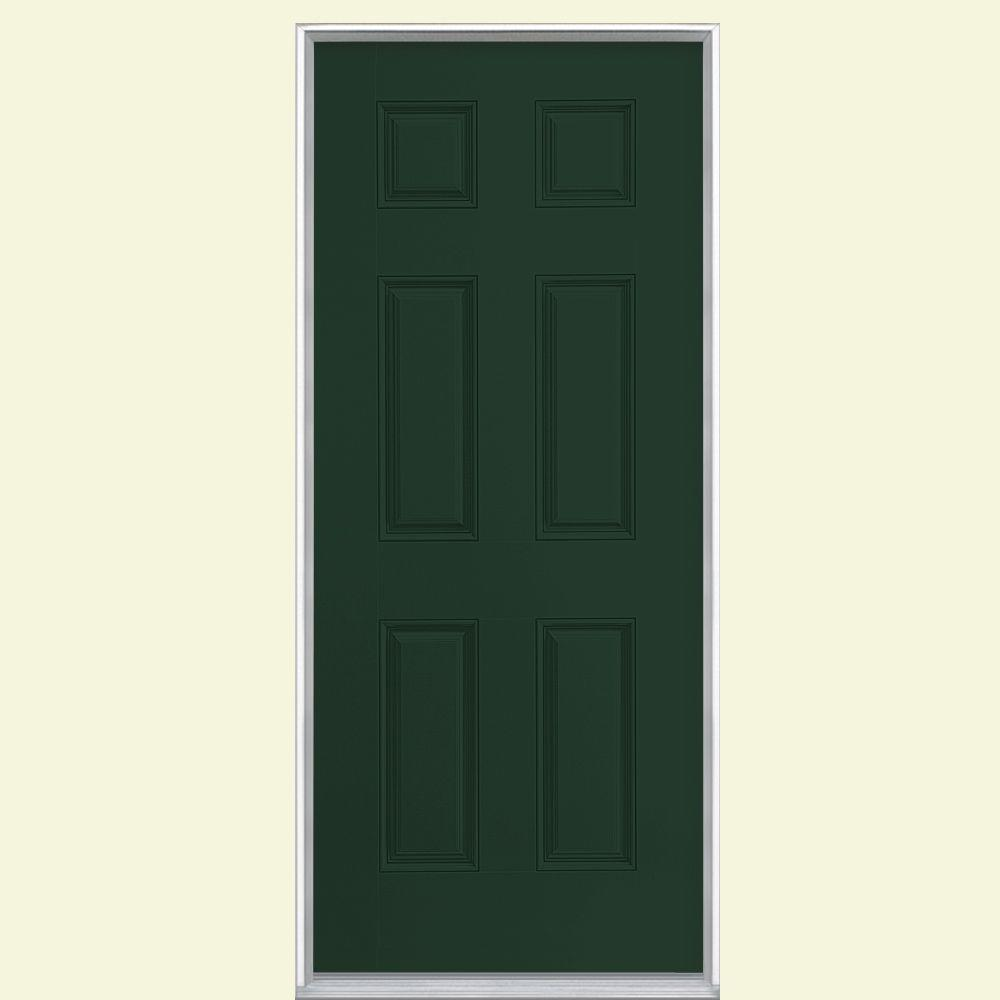 Masonite 36 in. x 80 in. 6-Panel Painted Smooth Fiberglass Prehung Front Door with No Brickmold