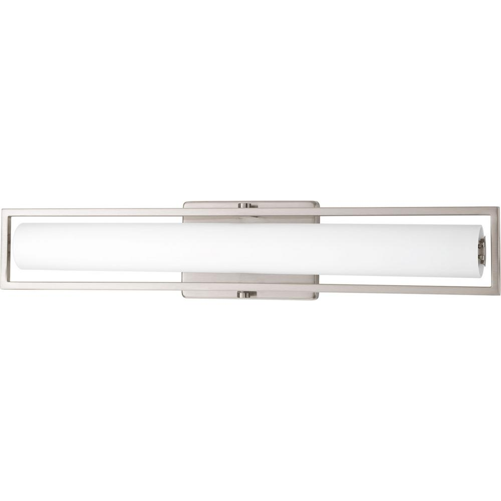 Frame Collection 35-Watt Brushed Nickel Integrated LED Bath Light