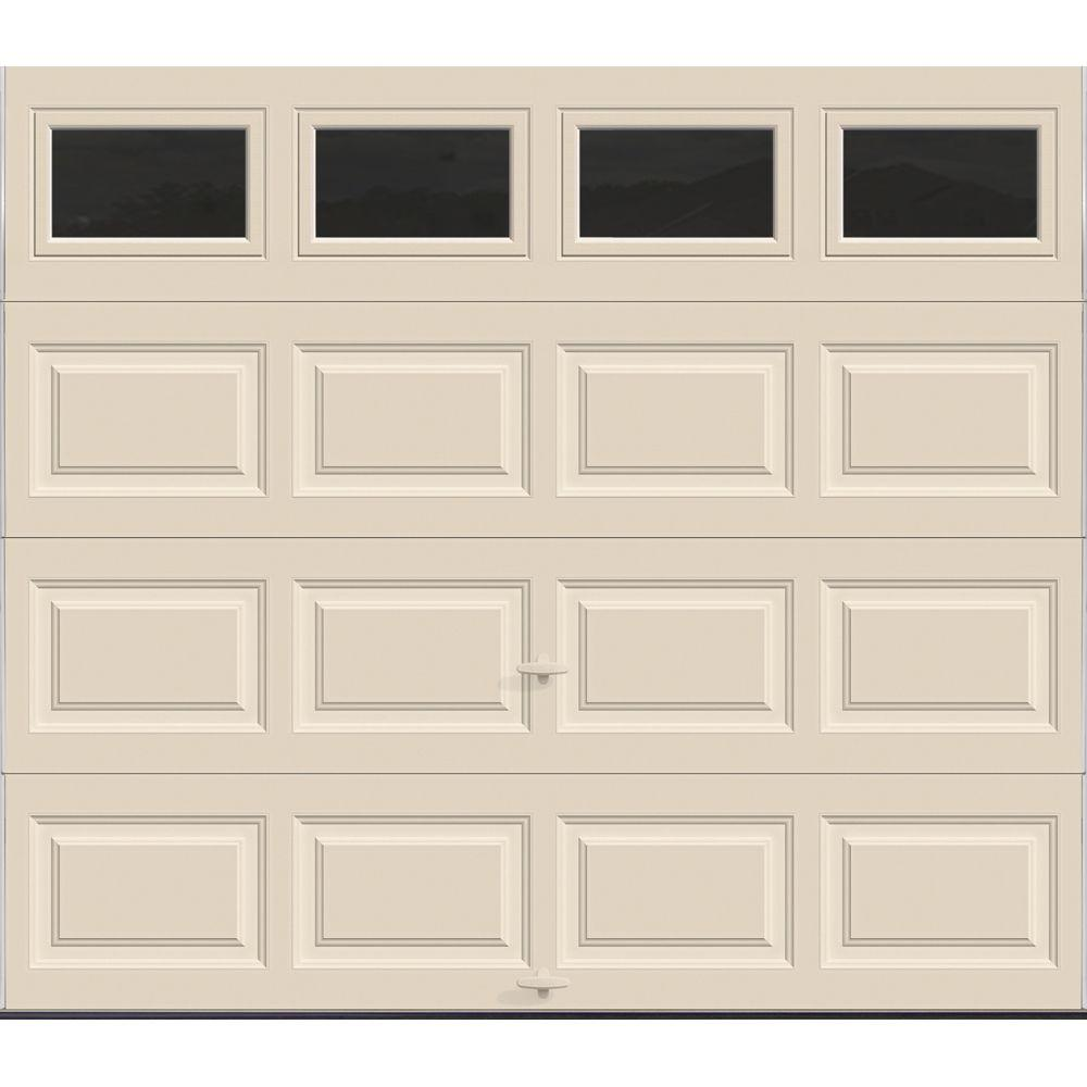 Clopay Premium Series 8 ft. x 7 ft. 12.9 R-Value Intellicore Insulated Almond Garage Door with Plain Windows