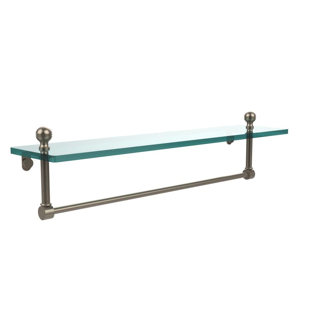 Allied Brass Mambo 22 in. L x 5 in. H x 5 in. W Clear Glass Vanity Bathroom Shelf with Towel Bar in Antique Pewter