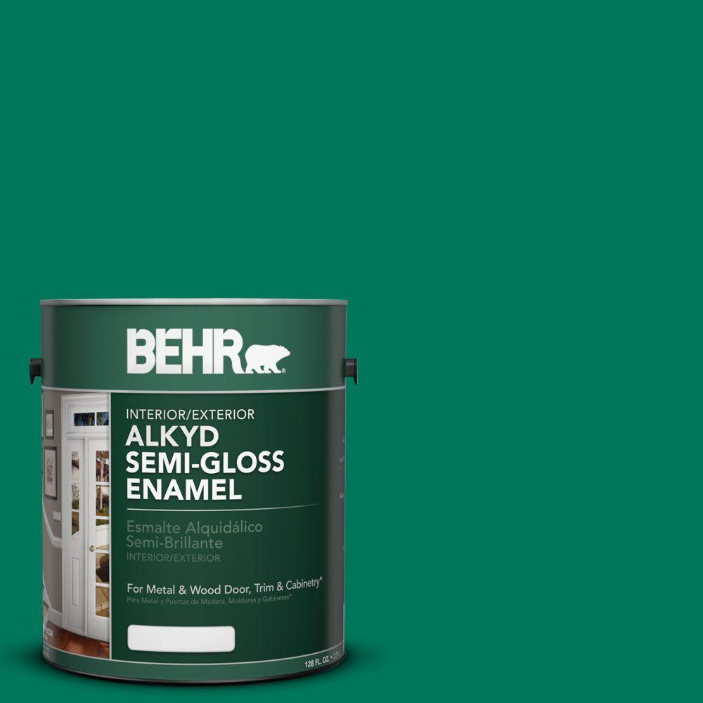 BEHR 1-gal. #OSHA 2 Safety Green Semi-Gloss Enamel Alkyd Interior/Exterior Paint