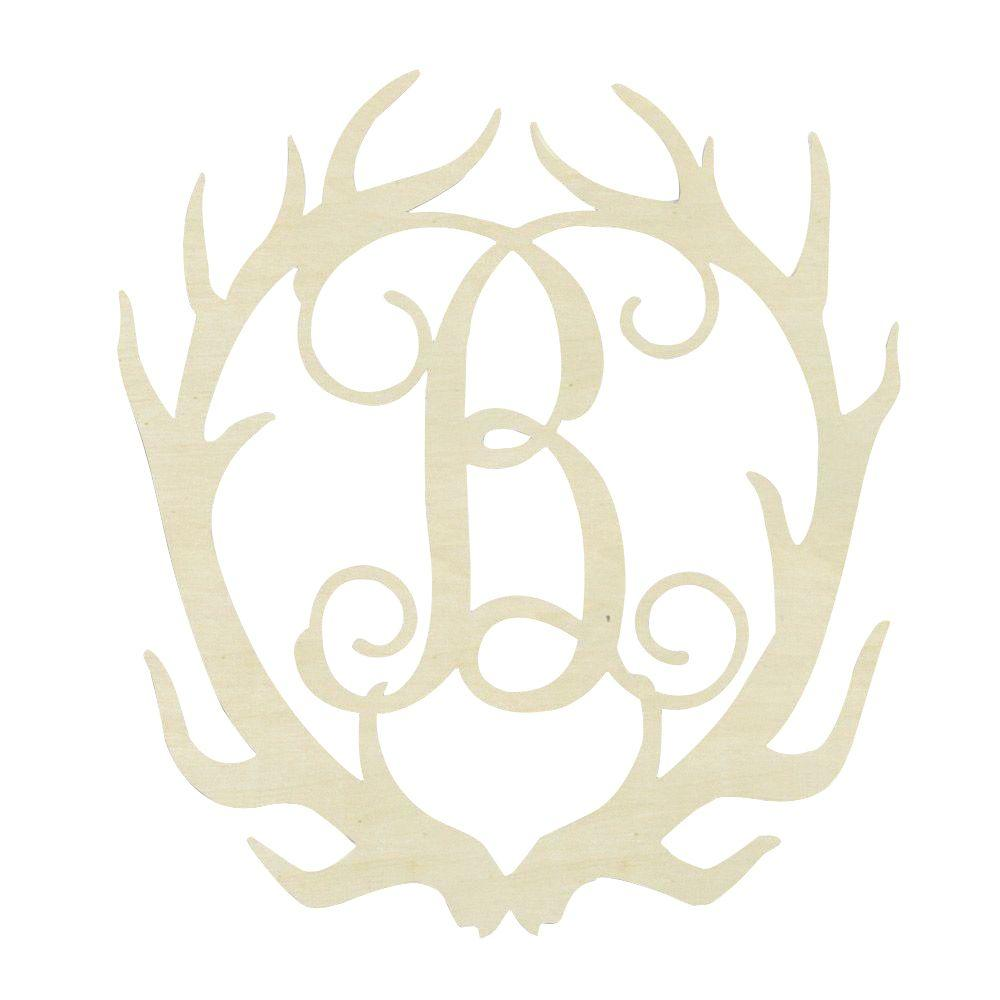 Jeff McWilliams Designs 19.5 in. Unfinished Antler Monogram (B)-300535 - The