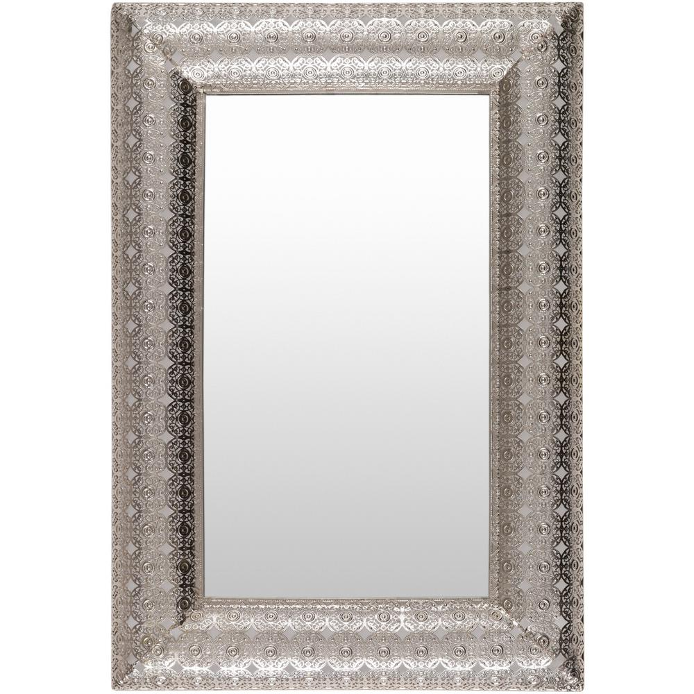 Hillsdale furniture lakeview 30 in x 20 in metal framed for Metal frame mirror