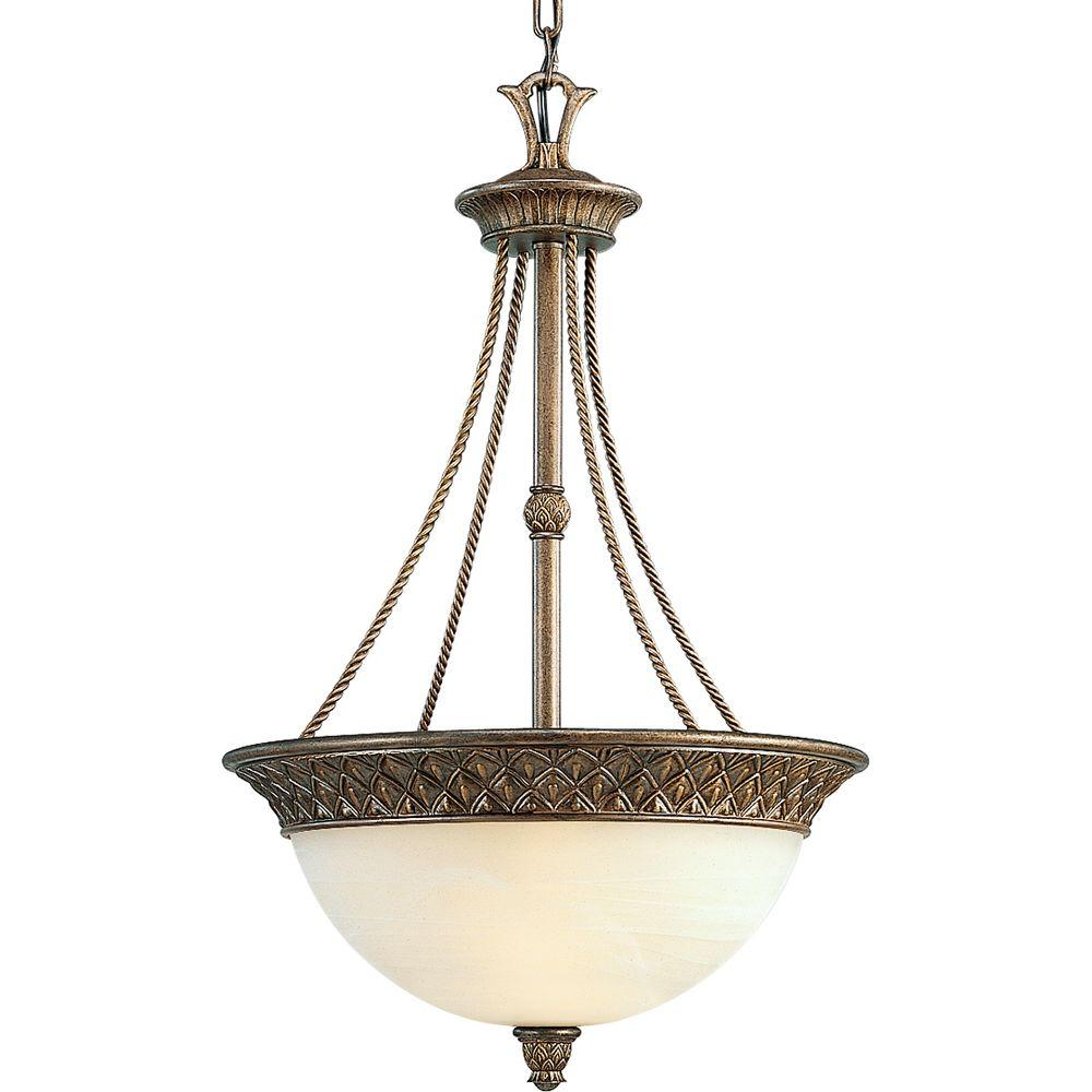 Progress Lighting Savannah Collection 3-Light Burnished Chestnut Pendant
