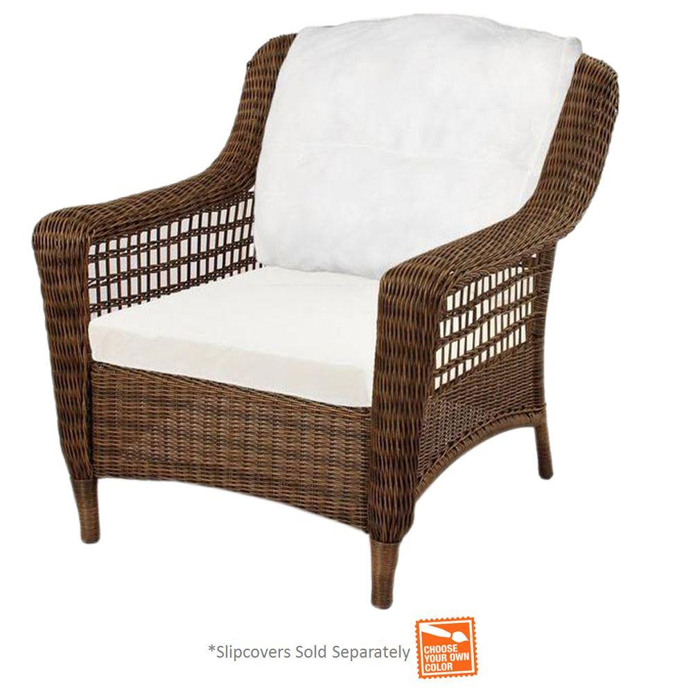 Hampton Bay Spring Haven Brown Wicker Patio Lounge Chair with Cushion Insert
