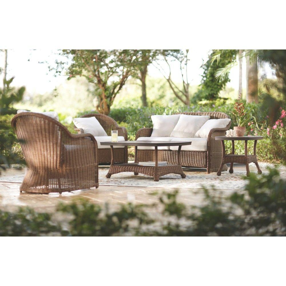 Home Decorators Collection Islandia Almond 4-Piece Deep Patio Seating Set with Ecru Cushions