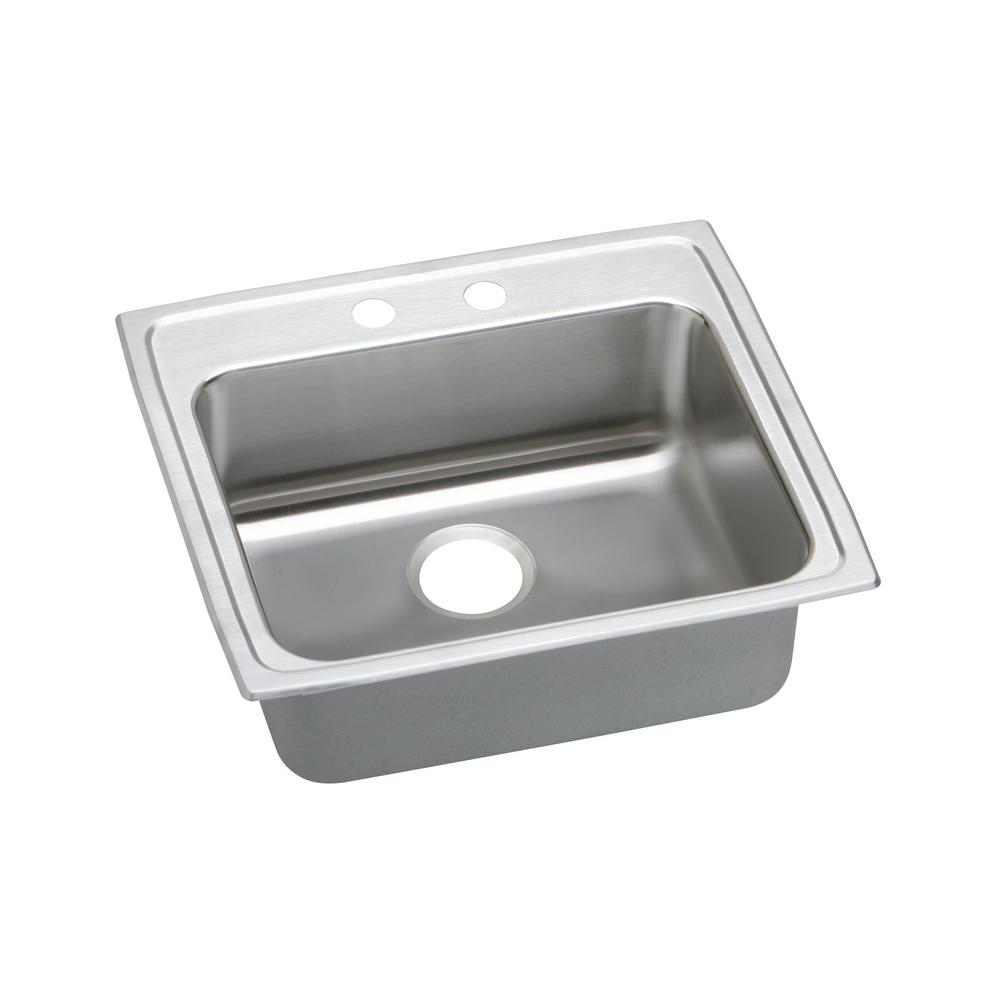 Lustertone Drop-In Stainless Steel 22 in. 2-Hole Single Bowl Kitchen Sink