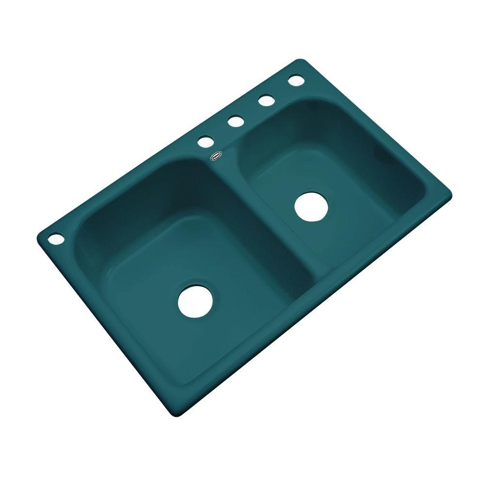 Cambridge Drop-In Acrylic 33 in. 5-Hole Double Bowl Kitchen Sink in Teal (Blue)