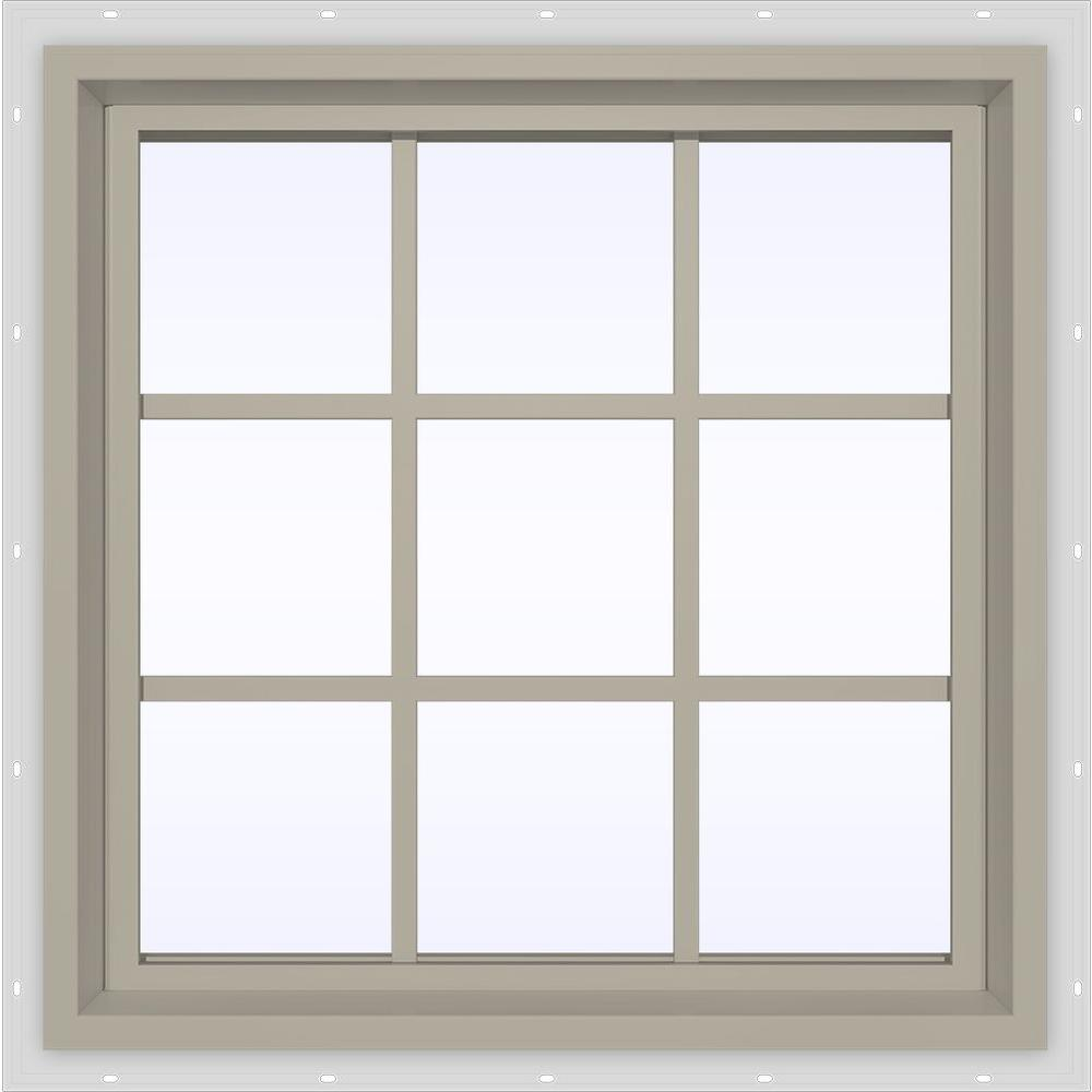 JELD-WEN 23.5 in. x 23.5 in. V-4500 Series Fixed Picture Vinyl Window with Grids in Tan