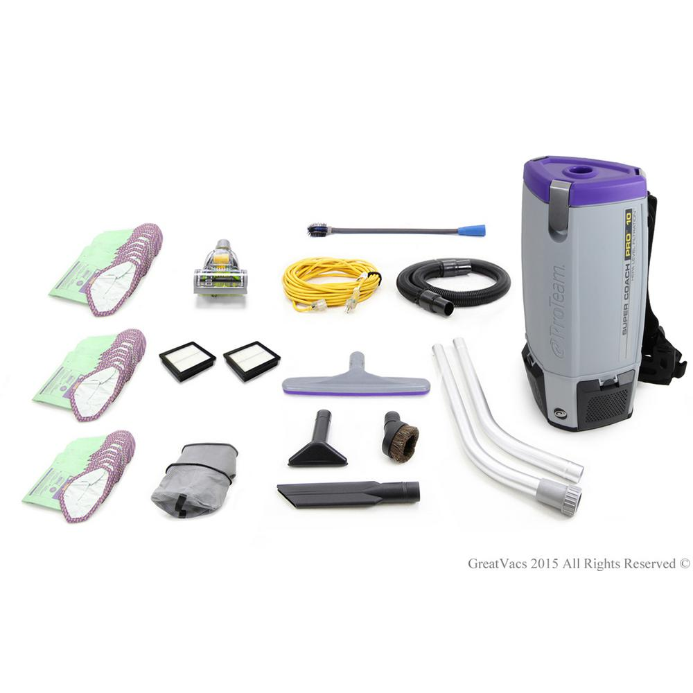 Fully Loaded Proteam Super Coach Pro 10 Qt. Commercial Backpack Vacuum