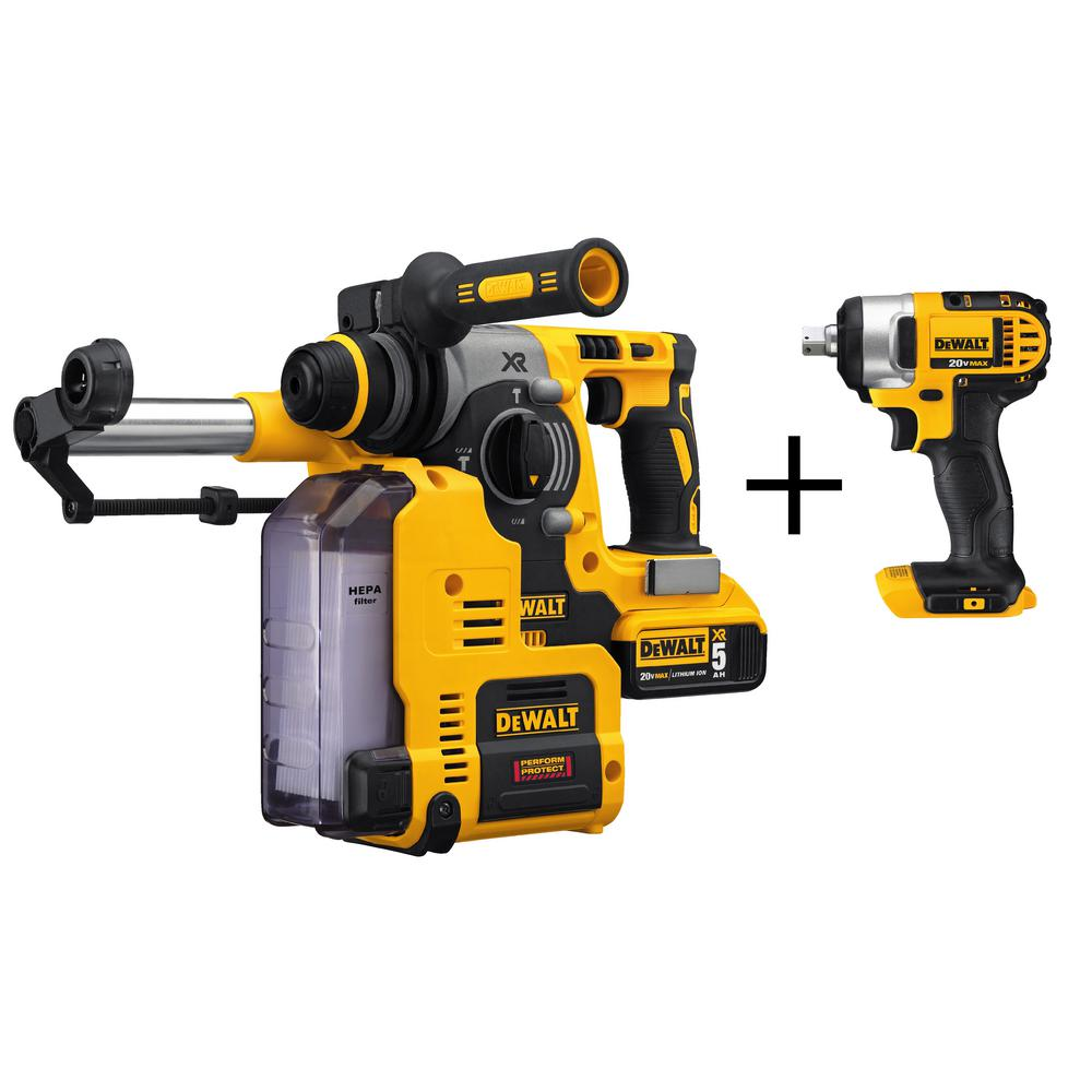 20-Volt MAX Brushless Rotary Hammer and Dust Extractor with Bonus 1/2