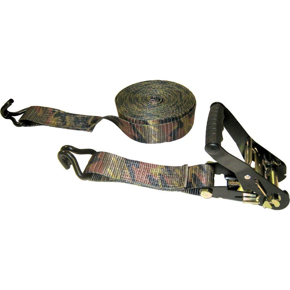 Keeper 27 ft. x 2 in. x 10000 lb. Camouflage Ratchet Tie-Down with J-Hook