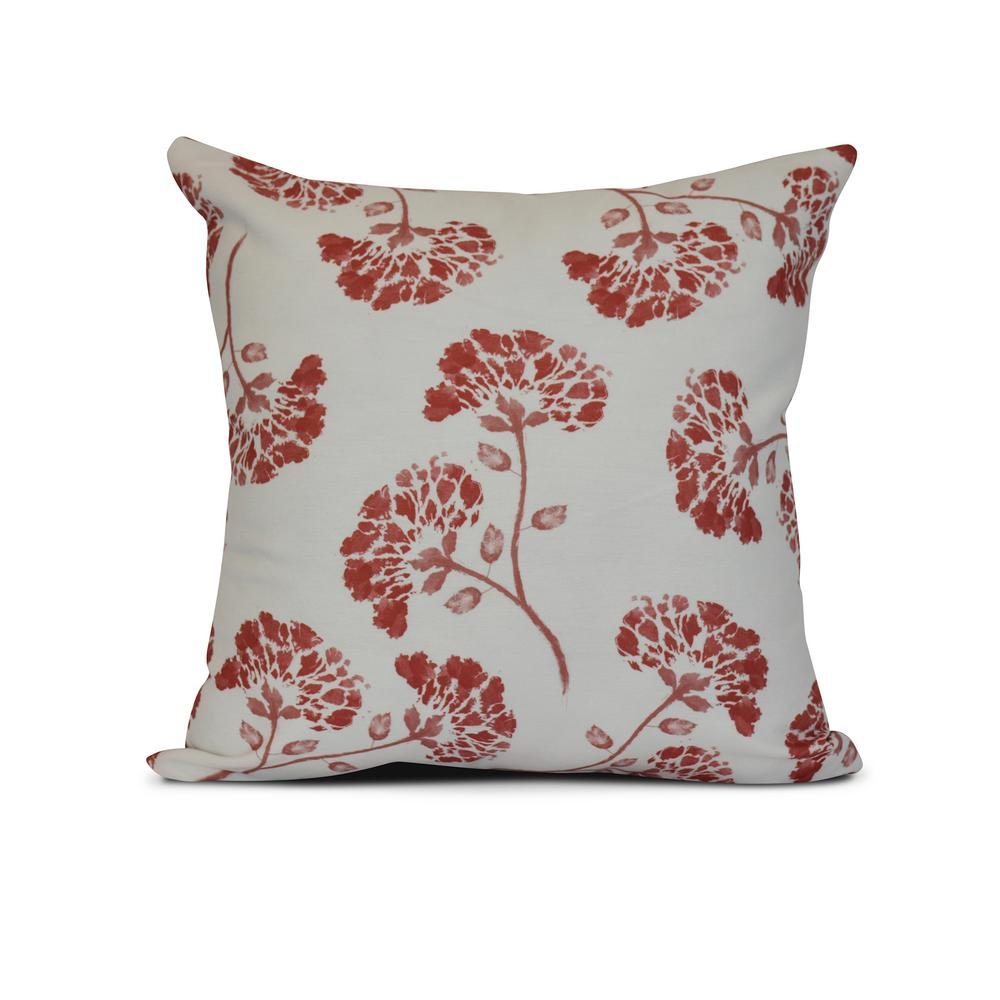 16 in. April Floral Print Pillow in Coral-PF843OR15-16 - The Home