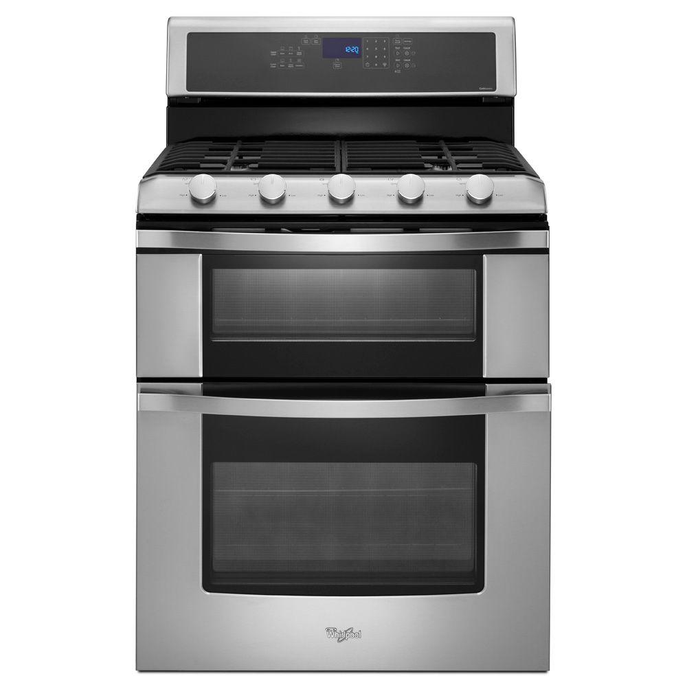 Whirlpool 6.0 cu. ft. Double Oven Gas Range with Self-Cleaning Convection Oven in Stainless Steel