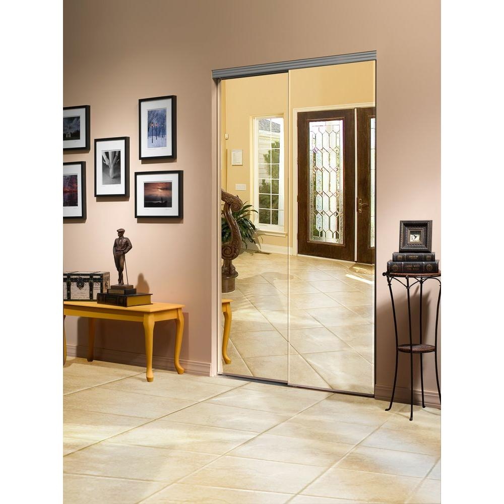 beveled edge backed mirror aluminum frame interior closet sliding door with chrome the home depot