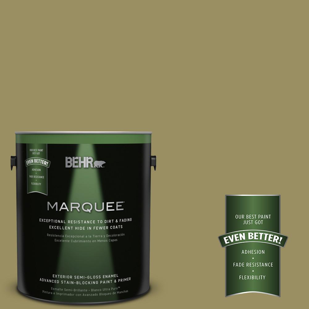 BEHR MARQUEE 1-gal. #390F-6 Tate Olive Semi-Gloss Enamel Exterior Paint-545301 -